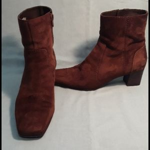 Chocolate brown suede square toe short boots